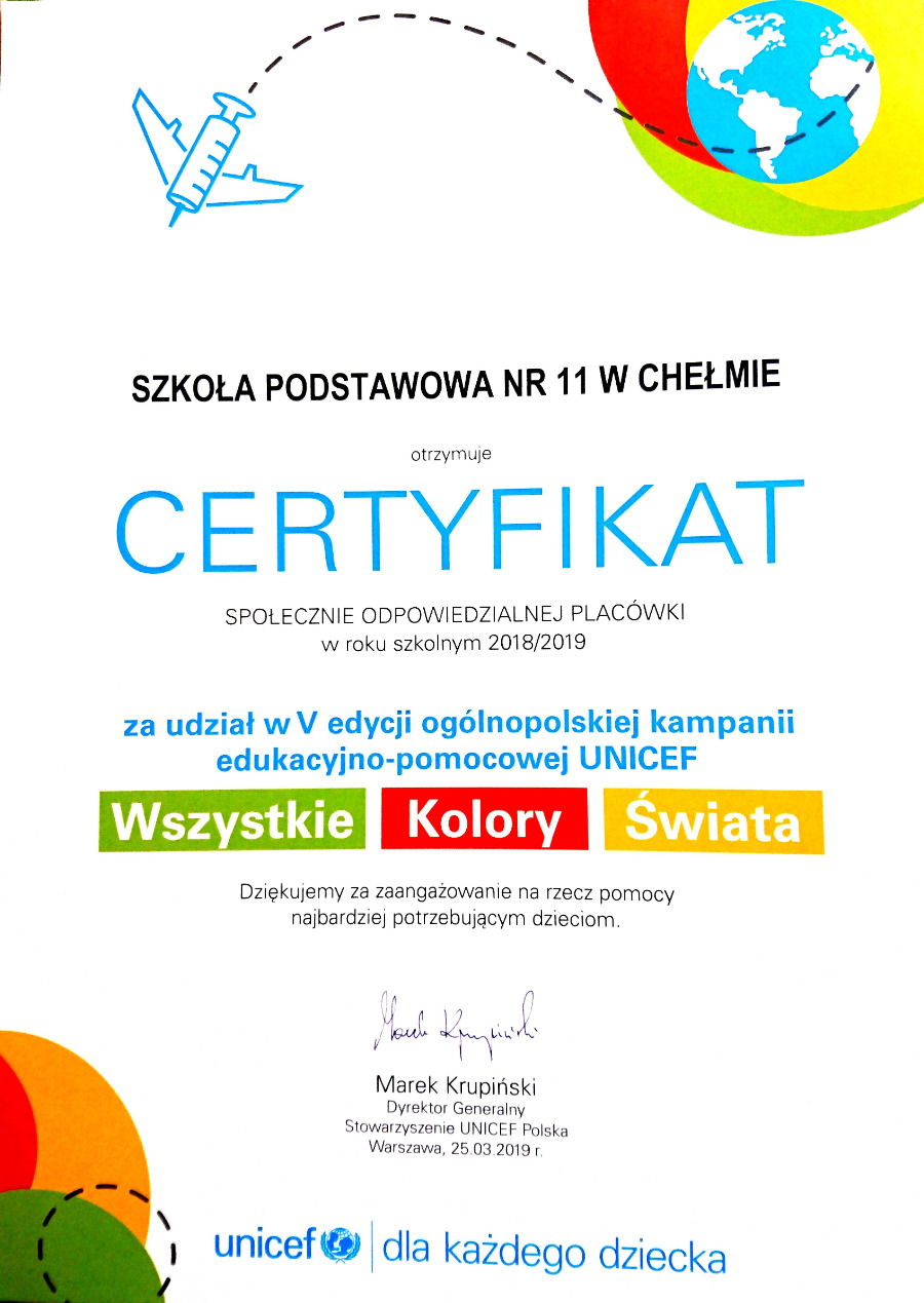 Certyfikat - Unicef